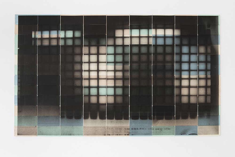 Antony Cairns, OSC56, 2015 (printed 2016). Inkjet on 108 cream, green and blue computer punch cards assembled and mounted on archival wood sticks with pins, 96 x 170 cm, unique. © Ollie Hammick