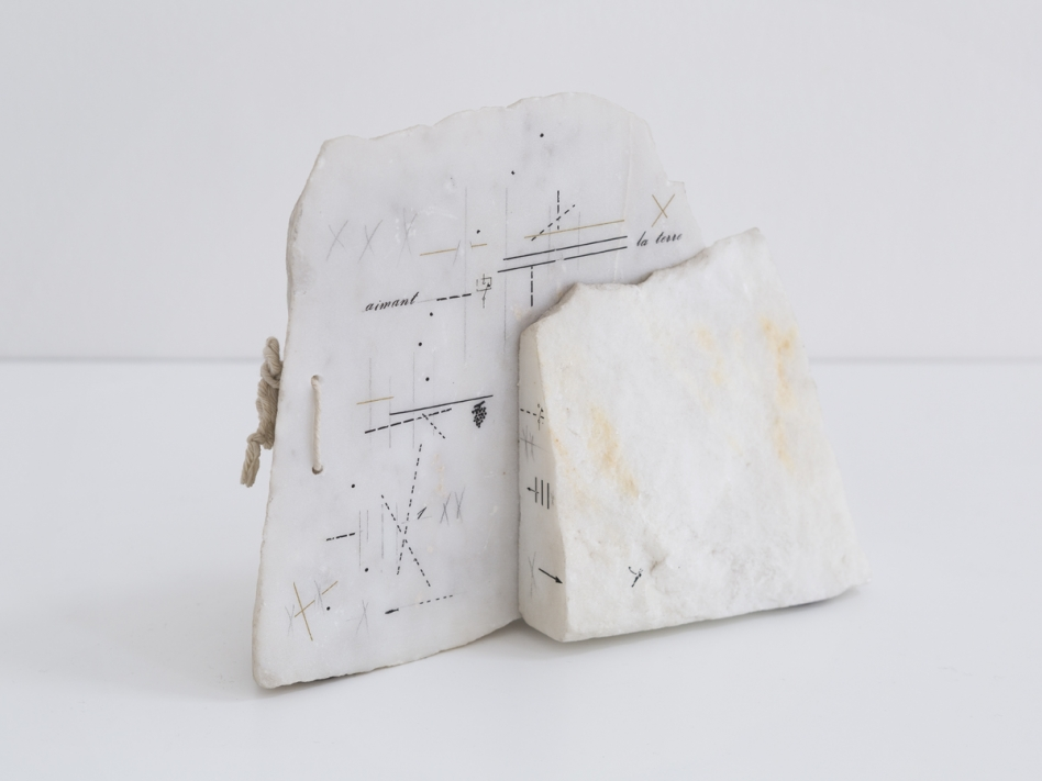 Marie Orensanz, Aimant la Terre, 1984. 2 closed pages of white statuary marble with pencil drawings, 15 x 19 x 8 cm, unique. Courtesy of Roman Road and the artist. © Ollie Hammick