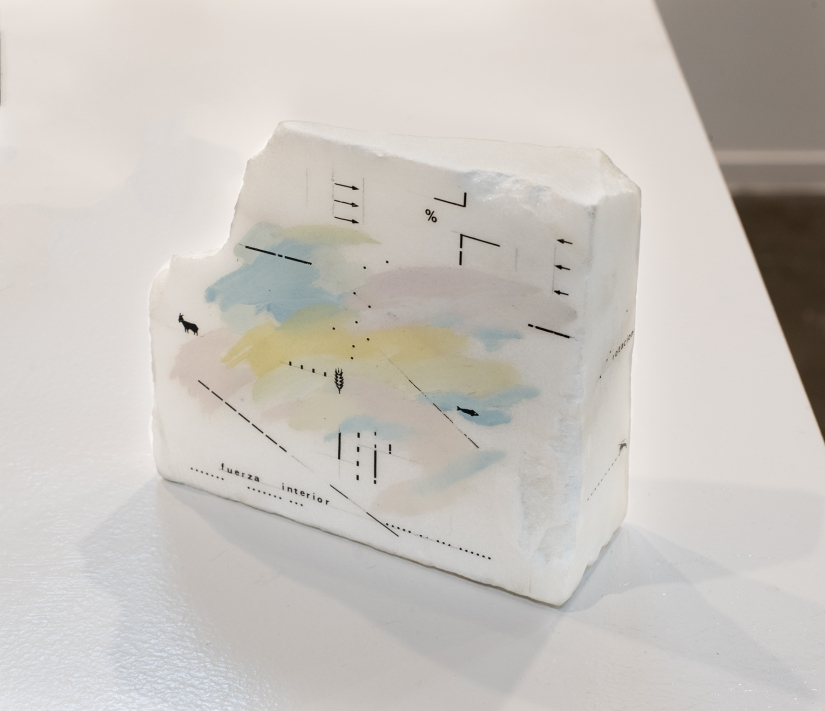 Marie Orensanz, Fuerza interior, 1983. Drawing and paint on marble, 10.5 x 11 x 3.5 cm, unique. Courtesy of Roman Road and the artist. © Rafael Chvaicer and Ana Viotti