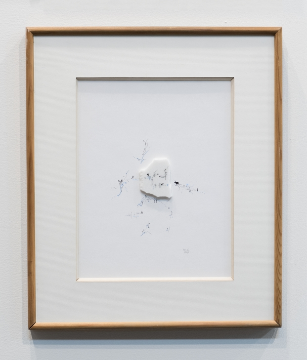 Marie Orensanz, L'âne / Memoria, 1995. Drawing on paper and marble,39.5 x 33.5 cm with frame, unique. Courtesy of Roman Road and the artist. © Rafael Chvaicer and Ana Viotti