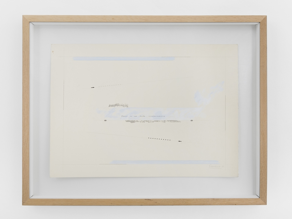 Marie Orensanz, Pensar es un hecho revolucionario, 1974. Drawing on paper, 50 x 70 cm (69.5 x 89.5 cm with frame), unique. Courtesy of Roman Road and the artist. © Ollie Hammick